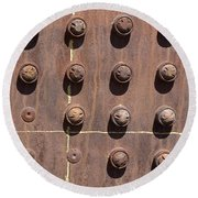 Chama -rivets On Steam Engine Boiler Round Beach Towel