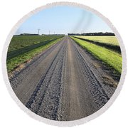 Road Across North Dakota Prairie Round Beach Towel