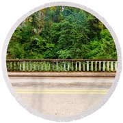 Road And Lush Green Forest Round Beach Towel