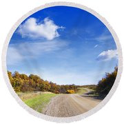 Road Approaching Hill Round Beach Towel
