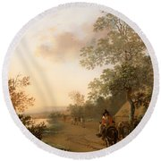 Road By The Edge Of A Lake Round Beach Towel