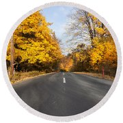 Road In Autumn Forest Round Beach Towel