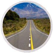 Road Leading To Active Volcanoe Mt Ngauruhoe In Nz Round Beach Towel