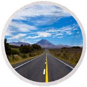 Road Leading To Active Volcanoe Mt Ngauruhoe Nz Round Beach Towel
