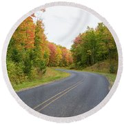 Road Passing Through A Forest, Alger Round Beach Towel