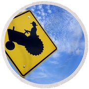 Road Sign Tractor Crossing Round Beach Towel
