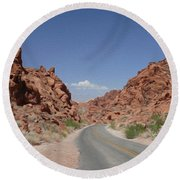 Road Throught The Valley Of Fire Round Beach Towel