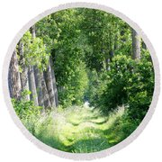 Road To Bruges Round Beach Towel by Carol Groenen