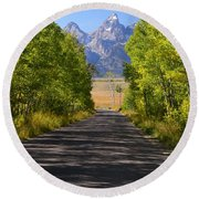 Road To Happiness Round Beach Towel