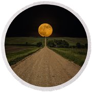 Road To Nowhere - Supermoon Round Beach Towel
