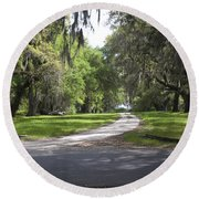 Road To Ruins Round Beach Towel