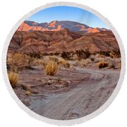 Road To The Badlands Round Beach Towel
