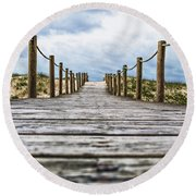 Road To The Dunes Round Beach Towel
