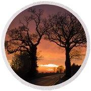 Road To The Night Round Beach Towel