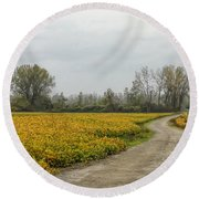 Road To The River Round Beach Towel