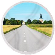 Road To The Village Round Beach Towel