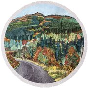 Road To Torloisk, 2008 Wc And Ink Round Beach Towel