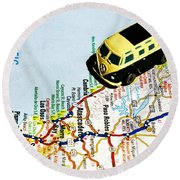 Road Trip - The Pch Round Beach Towel by Benjamin Yeager