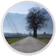 Road With Trees Round Beach Towel