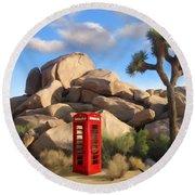 Phone Booth In Joshua Tree Round Beach Towel