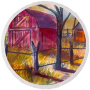Roadside Barn Round Beach Towel