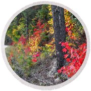 Roadside Fall Colors Round Beach Towel