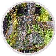 Roadside Waterfall. Mount Rainier National Park Round Beach Towel