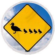 Roadsign Warning Ducks With Ducklings Crossing Round Beach Towel