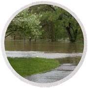 Roadway Turned Boat Launch Round Beach Towel