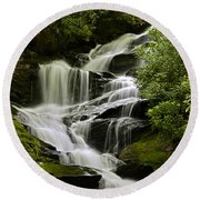 Roaring Creek Falls Round Beach Towel