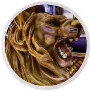 Roaring Lion Ride Round Beach Towel