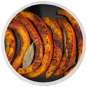 Roasted Pumpkin Slices Round Beach Towel