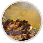 Roasted Steak In Traditional Kotlovina Dish Round Beach Towel