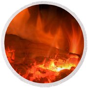 Face In The Fire Round Beach Towel