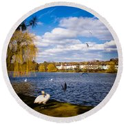 Roath Park Lake Round Beach Towel
