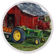 Rob Smith's Tractor Round Beach Towel by Lee Piper