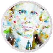 Robert Frost . Watercolor Portrait Round Beach Towel