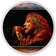 Robert Plant Art Round Beach Towel by Marvin Blaine