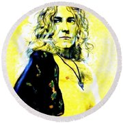 Robert Plant Of Led Zeppelin   Round Beach Towel
