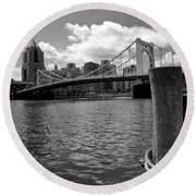 Roberto Clemente Bridge Pittsburgh Round Beach Towel