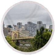 Roberto Clemente Bridge Pittsburgh Pa Round Beach Towel
