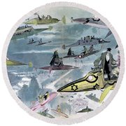 Robida Future Travel, C1902 Round Beach Towel