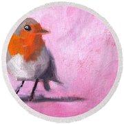 Robin On Pink Round Beach Towel
