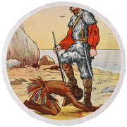Robinson Crusoe And Friday Round Beach Towel