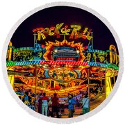 Rock And Roll On The Boardwalk Round Beach Towel