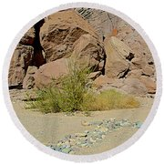 Rock Arrow And Terry Directing Into Ladder Canyon From Big Painted Canyon Trail In Mecca Hills-ca  Round Beach Towel