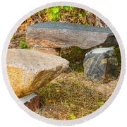 Rock Bench And Table Round Beach Towel