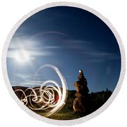 Rock Cairn With Light Painting Next Round Beach Towel