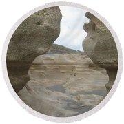 Rock Caves On The Beach Round Beach Towel