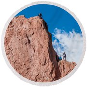 Rock Climbing  Round Beach Towel